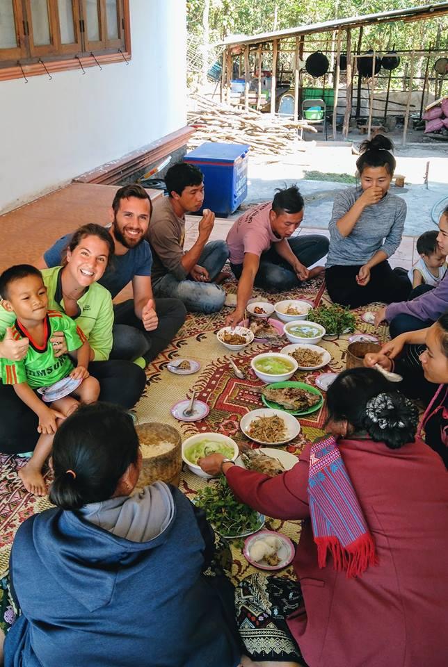 Enjoying Lao food durign a workaway experience