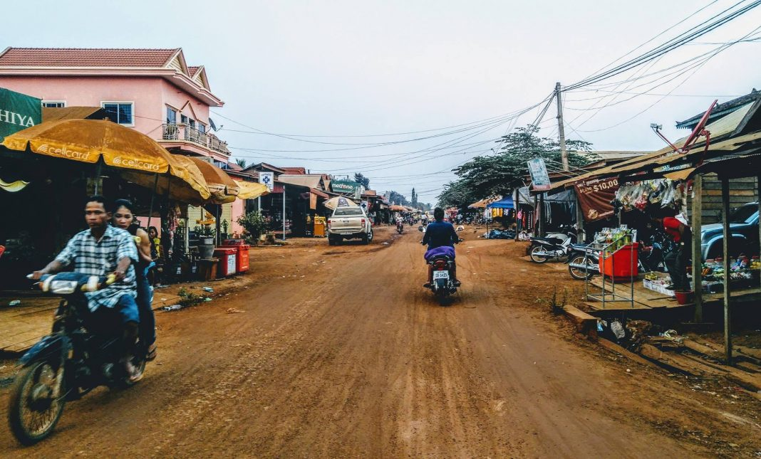 Gravel road in Cambodia
