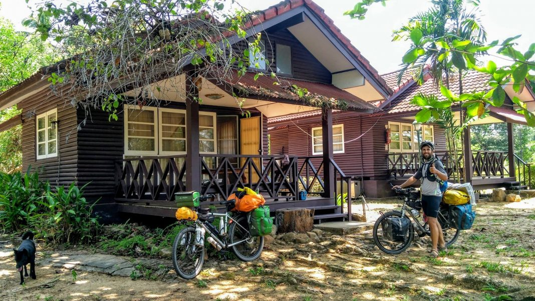 Tipycal bungalow in lonely thailand beach